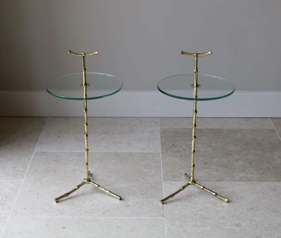 Pair of Brass and Glass Side Tables