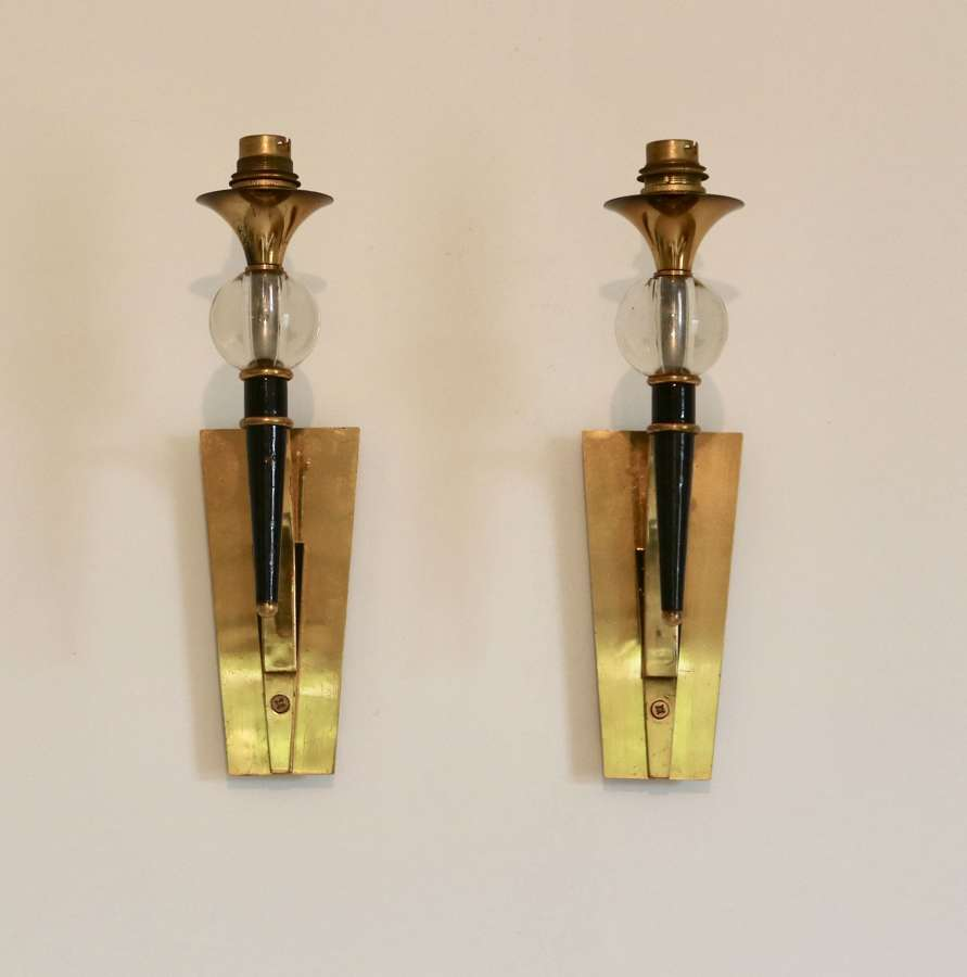Pair Brass & Lacquered Metal Wall Lights