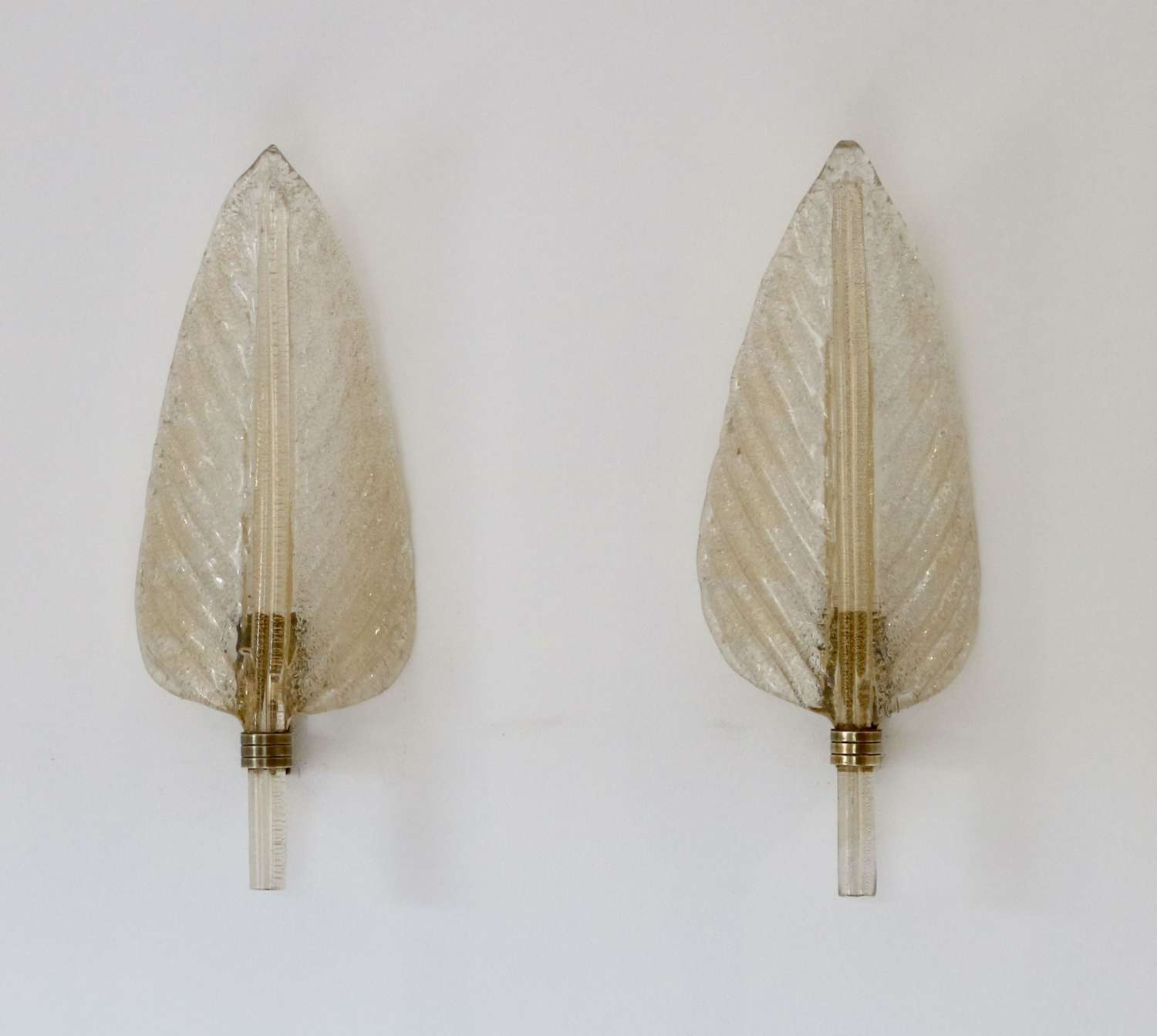 Pair of Glass Leaf Wall Lights