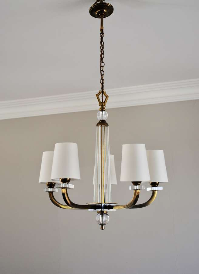 French Art Deco 5 Arm Chandelier