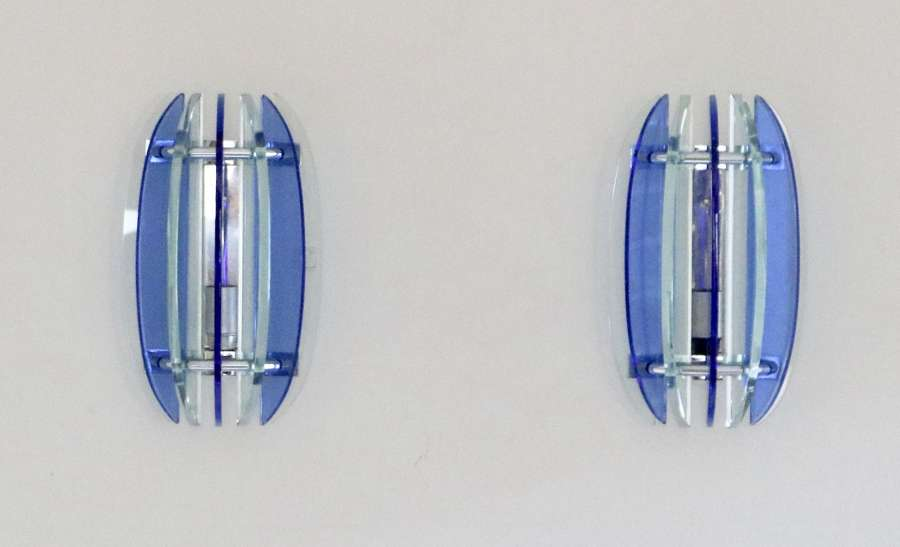 Pair Of Blue / Clear Glass Wall Lights