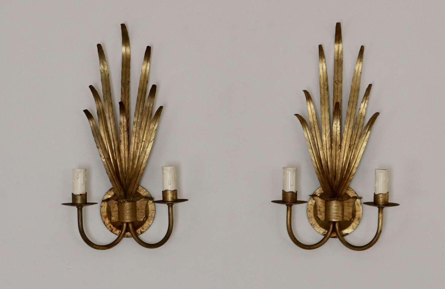Gold Tole Leaf Wall Lights